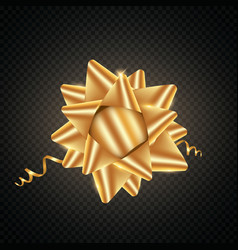 isolated realistic golden satin bow for gift vector image