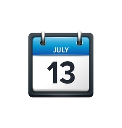 July 13 Calendar icon flat vector