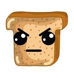 Kawaii cute angry chopped bread vector
