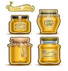 Lemon jam in glass jars vector
