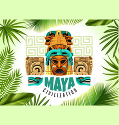 Maya civilization horizontal poster vector