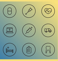 medicine icons line style set with equipment vector image