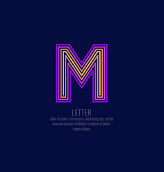 modern linear logo and sign letter m vector image