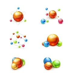 Molecule icon set vector