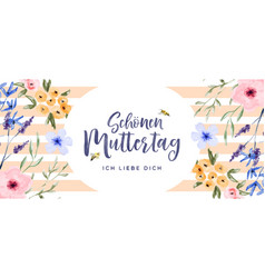 mothers day watercolor spring flower german card vector image