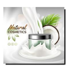 Natural cosmetics creative promo banner vector