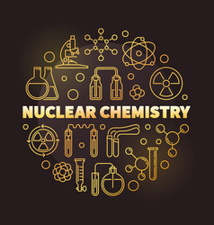 Nuclear chemistry golden round outline vector