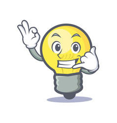 Okay call me light bulb character cartoon vector