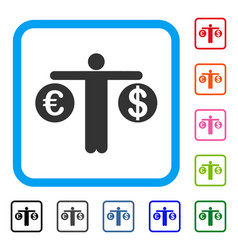 person compare dollar and euro framed icon vector image