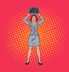Pop art happy business woman holding laptop vector