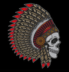 printdesign indian chief old skull vector image