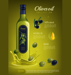 realistic olive oil advertising composition vector image