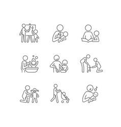 Responsible parenthood linear icons set vector
