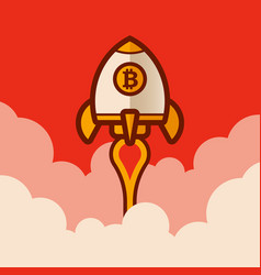 retro bitcoin rocket spaceship vector image
