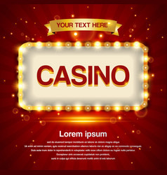 Retro light sign casino signage vintage style vector