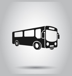 School bus icon in flat style autobus on isolated vector