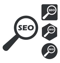 SEO search icon set monochrome vector