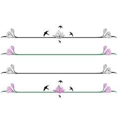 set borders with crocuses vector image