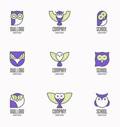 set colorful logotypes with owls vector image