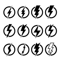 Set of black lightning bolts and signs vector