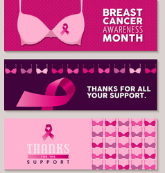 Set of breast cancer awareness banners with bra vector