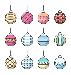 Set of christmas balls icon line art vector