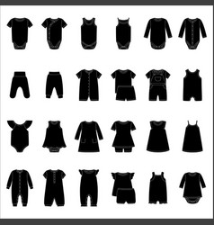 set silhouettes baby clothes vector image