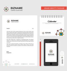 Sheild protected business letterhead calendar vector