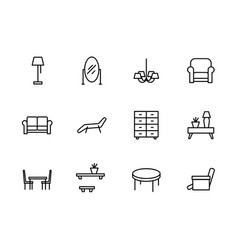 simple set symbols furniture and interior room vector image