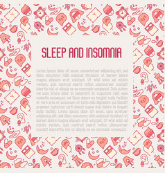 Sleep and insomnia concept with thin line icons vector