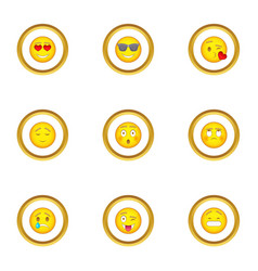 smile face icons set cartoon style vector image