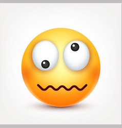 Smileycrazy emoticon yellow face with emotions vector