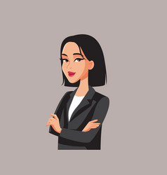 Smiling asian business woman with arms crossed vector