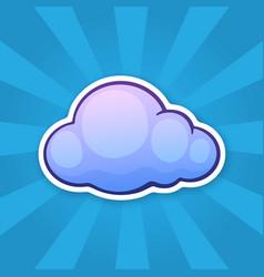 Sticker blue cloud vector