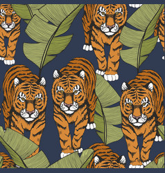 tiger in tropical leaves seamless pattern with vector image