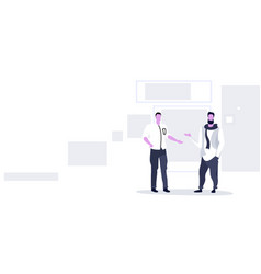 two business men discussing new project during vector image