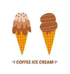 Two coffee ice cream cones vector