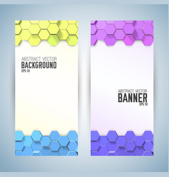 Vertical banners with colorful hexagons vector