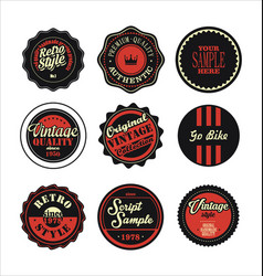 vintage labels black and red set 2 vector image vector image