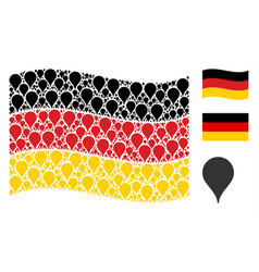 Waving german flag pattern of map pointer items vector