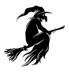 Witch flying on broomstick black and white vector