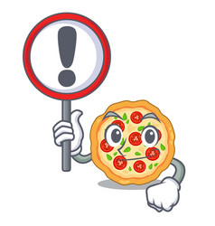 With sign margherita pizza in a cartoon oven vector