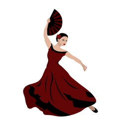 Woman dancing flamenco vector