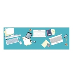 Work Table Document and Laptop Design Flat vector image