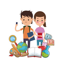 boy and girl puplis book globe bag palette pencil vector image vector image