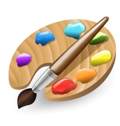 Color Brush and Pallet vector image