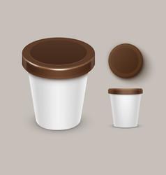 food plastic tub container for yogurt ice cream vector image
