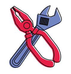 pliers and wrench tool equipment support vector image vector image