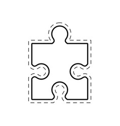 puzzle solution image outline vector image vector image