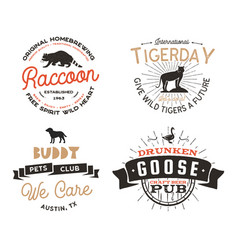 wild animal badges set and great outdoors activity vector image vector image
